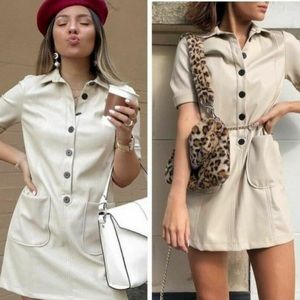 Zara TRF Collection Sand Faux Leather Shirtdress